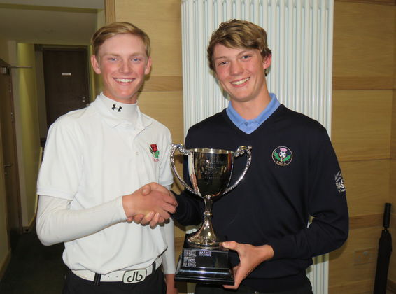 2017 Scottish Boys' Captain Presenting Trophy to English Boys' Captain