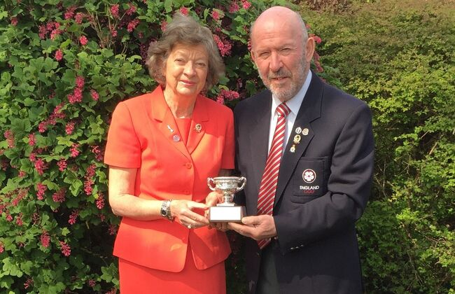 David & Margo Horsburgh with the Gerald Micklem Trophy for 2021, presented at the England Golf AGM